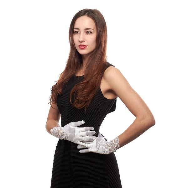 Grace Kelly Wrist Length Satin Gloves with Rhinestoned Lace