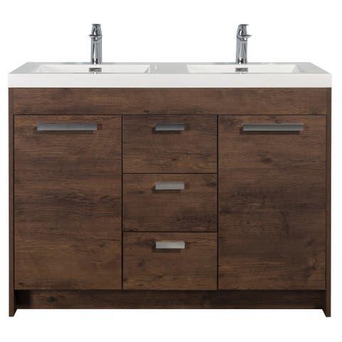 "Eviva Lugano 48"" Rosewood Modern Double Sink Bathroom Vanity w/ White Integrated Top"