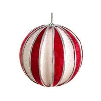 4 in. Peppermint Twist Red And Glitter Christmas Ball Ornament