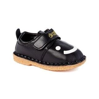 Little Girls Boys Black White Smiley Face Strap Sneakers 5-10 Toddler