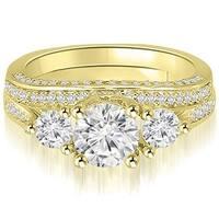 2.14 cttw. 14K Yellow Gold Three-Stone Lucida Round Cut Diamond Bridal Set