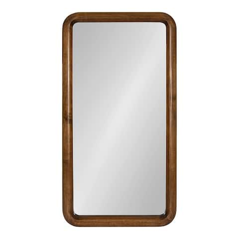 Kate and Laurel Pao Framed Wood Wall Mirror - Walnut Brown