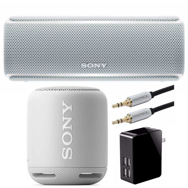 Sony SRS-XB21 Portable Wireless Bluetooth Speaker (White) + Sony SRS-XB10