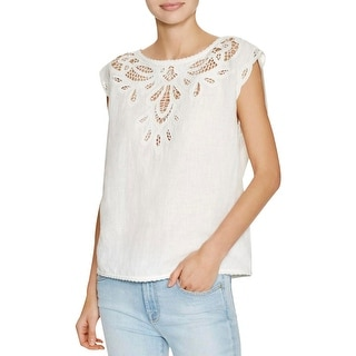 Joie Womens Kinski Casual Top Linen Blend Eyelet