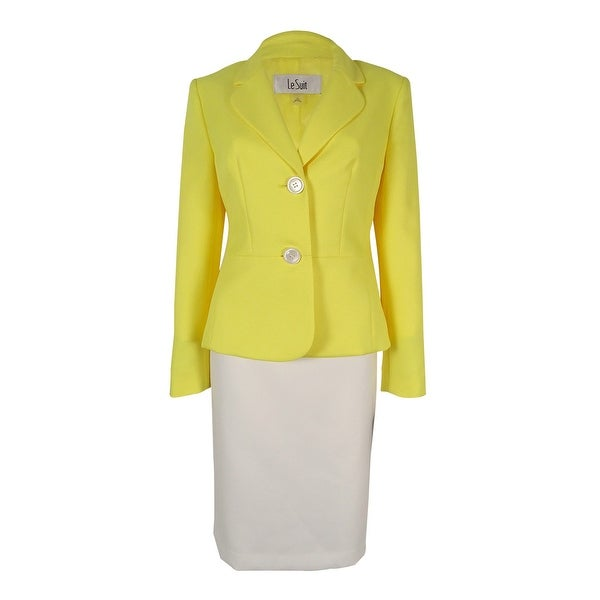 Le Suit Women's Two-Button Colorblocked Skirt Suit - daffodil/vanilla ice
