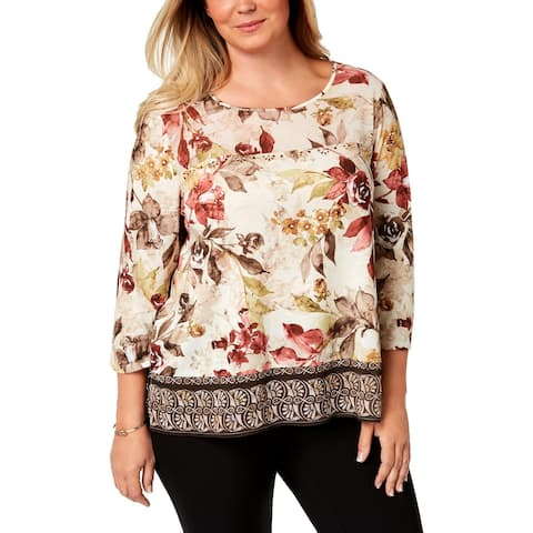 Alfred Dunner Womens Plus Pullover Top Jeweled 3/4 Sleeves - 3X