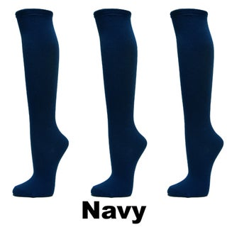 Couver Women's Fashion/Casual Plain Knee High Cotton Socks - 3 Pairs (More options available)
