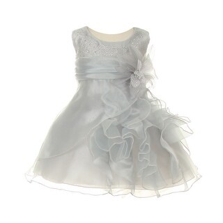Cinderella Couture Baby Girls Silver Crystal Organza Cascade Ruffle Dress 6-24M