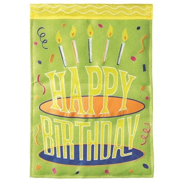 """18"""" Green Happy Birthday Cake and Candles Garden Flag - N/A"""