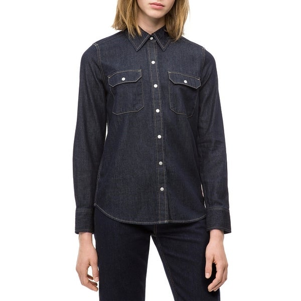 d5389fdf145 Shop Calvin Klein Jeans Blue Womens Size Small S Denim Button Down Shirt -  Free Shipping On Orders Over  45 - Overstock - 28078657