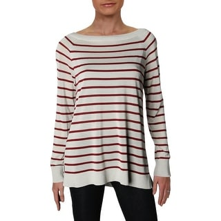 Lafayette 148 New York Womens Pullover Sweater Striped Lightweight