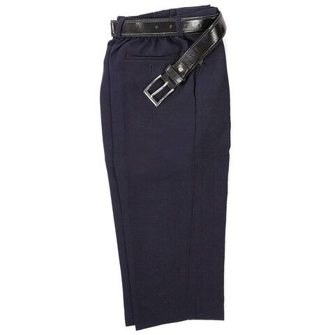 Rafael Boys Navy Blue Dress Pants Matching Black Belt Set