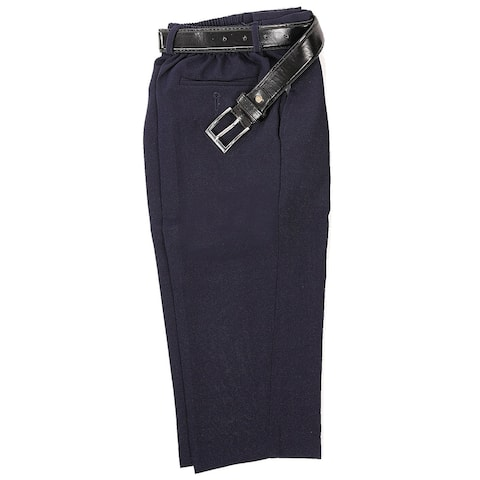 Rafael Little Boys Navy Blue Dress Pants Matching Black Belt Set