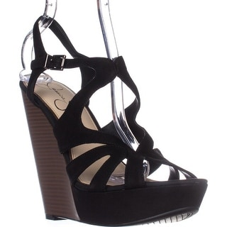 Jessica Simpson Brissah Wedge Sandals - Black