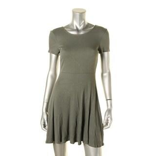 Aqua Womens Casual Dress Ribbed Knit Criss-Cross Back