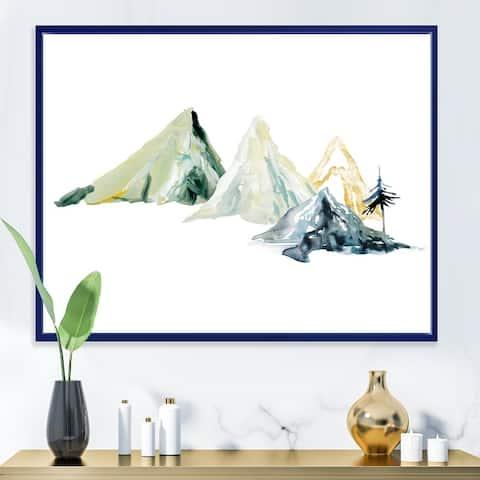 Designart 'Winter Minimalistic Dark Blue Mountain Landscape I' Modern Framed Canvas Wall Art Print