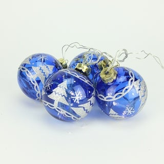 Set of 4 Battery Operated Blue Glass Ball LED Lighted Christmas Ornaments - N/A