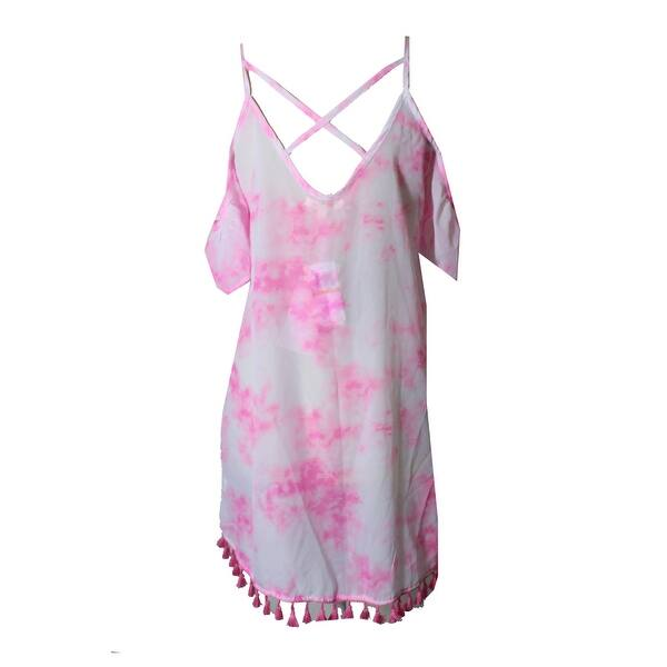 Miken Womens Tie-Dyed Cold-Shoulder Dress Swim Cover-Up