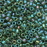 Miyuki Delica Seed Beads, 11/0 Size, 7.2 Grams, Opaque Avocado AB Green DB1575