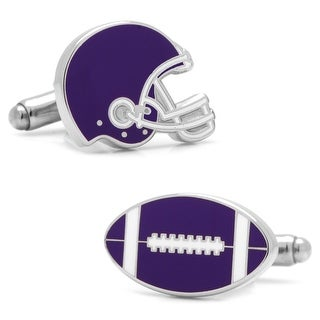 Varsity Football Purple and White Cufflinks