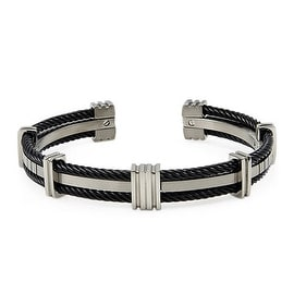 Two-Tone Titanium Bangle with Cable
