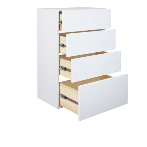 """Modular Closets36"""" Tall Wood Tower Closet Organizer System With Solid Wood Dovetail Drawers 18"""" Wide - White"""
