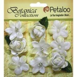 """White - Botanica Vintage Velvet Mini Flowers 1"""" - 1.5"""" 9/Pkg"""
