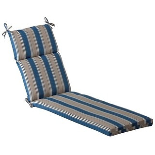 Outdoor Patio Furniture Chaise Lounge Cushion - Blue & Tan Stripe
