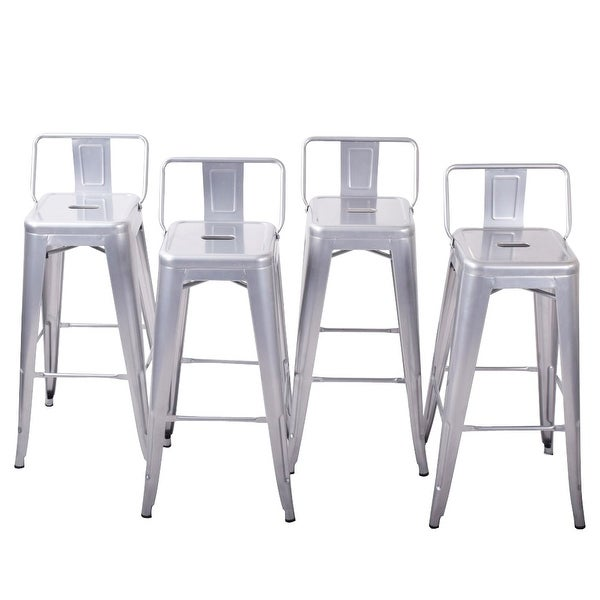 Belleze 30 Bar Height Stools With Backs Kitchen Bar Set Of 4