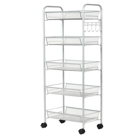 5 Tier Mesh Rolling File Utility Cart Storage Basket-Gray