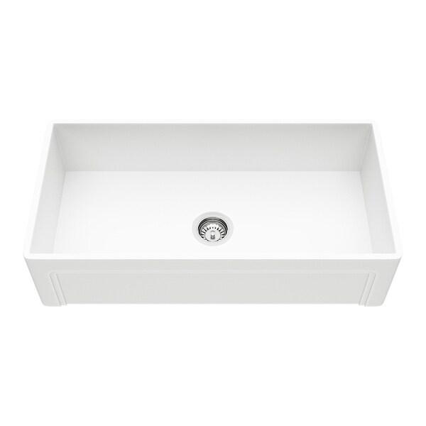 """Vigo VGRA3618SL 36"""" Single Basin Matte Stone Farmhouse Kitchen Sink - Matte White"""