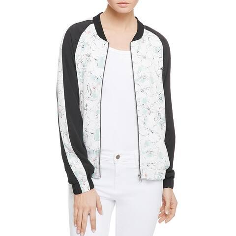 Sanctuary Women's Floral Print Colorblock Full Zip Striped Bomber Jacket