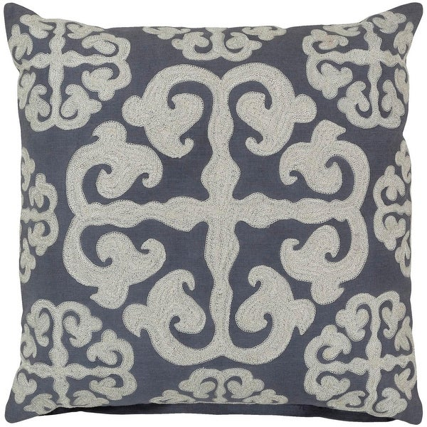 18 Stone Blue and Buttermilk White Cotton Handmade Decorative Throw Pillow