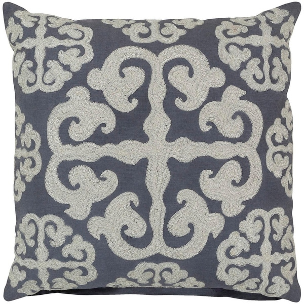 "22"" Stone Blue and Buttermilk White Hand-Made Decorative Throw Pillow-Down Filler"