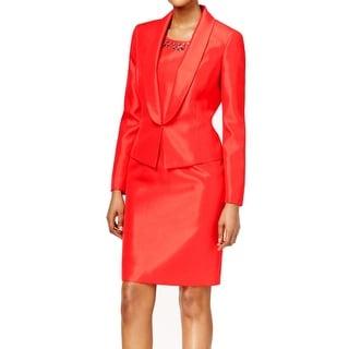 Kasper NEW Red Womens Size 4 Embellish Neckline Lapel Dress Suit Set