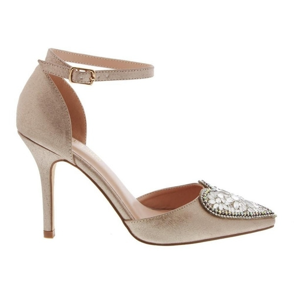 De Blossom Collection Adult Champagne Pointed Toe Mid-Heel Pumps