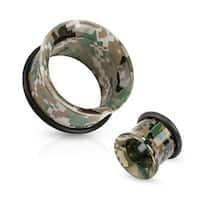 Camouflage Printed Acrylic Single Flared Tunnel with O-Ring (Sold Individually)