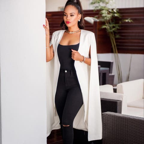 Personality Solid Color Long Section Big Cloak Europe And The United States Xl Women's Blazer