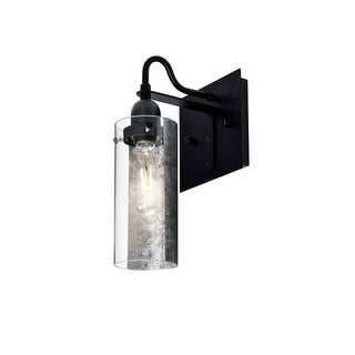 Besa Lighting 1WG-DUKESF Duke Single Light Wall Sconce with Glass Shade and Silver Foil Applique