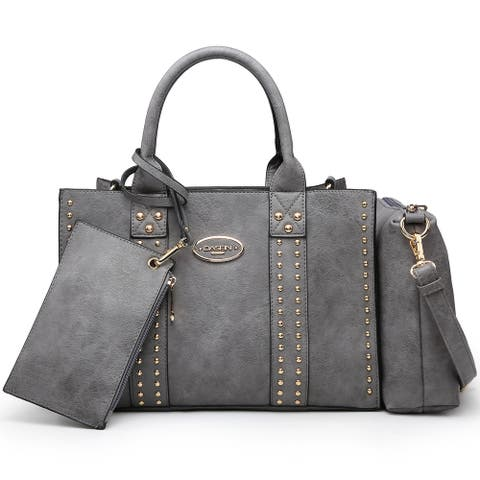 Dasein 3PCS Middle Studded Tote Handbag with Detachable Organizer Bag