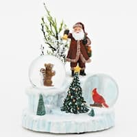 """4.75"""" Santa Claus with Cardinal and Squirrel Snow Globes Christmas Decoration - WHITE"""