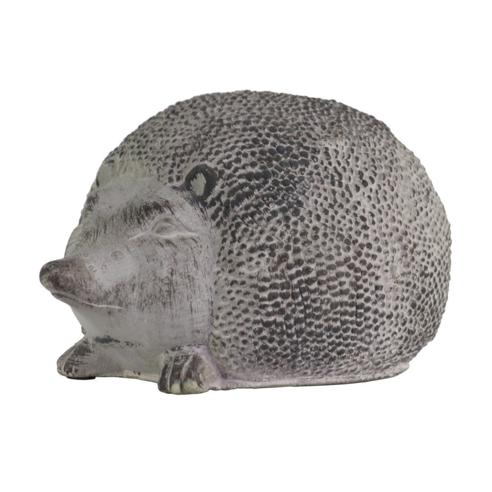 Cemented Hedgehog Figurine, Large, Washed Gray