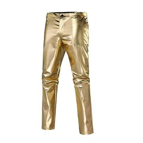 Mens Slim Fit Leather Stretch Fashion Casual Faux Metallic Shiny Nightclub Straight Leg Trousers