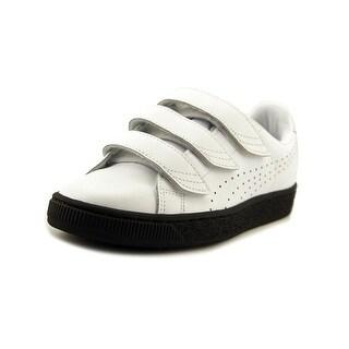 Puma Basket Classic Strap B&W Youth   Leather Black Fashion Sneakers