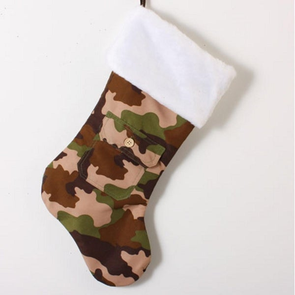 "17"" Brown and Green Camouflage with Pocket Christmas Stocking"
