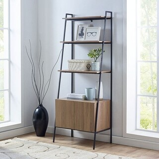"Offex 72"" Metal and Wood Ladder Storage - Mocha"