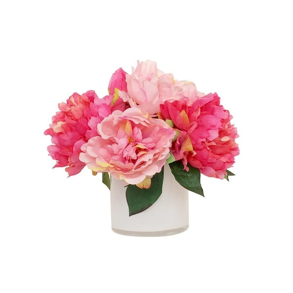 11 75 Pink Peonies Artificial Silk Fl Arrangement In White Vase Free Shipping Today 21903860