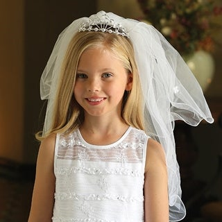 Angels Garment Girls White Double Layer Communion Flower Girl Headpiece Veil