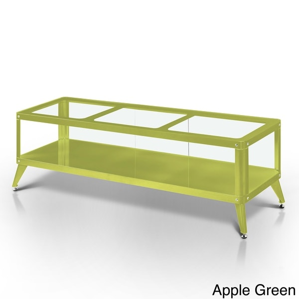 Furniture of America Hind Modern Metal Glass Top Open Shelf TV Stand. Opens flyout.