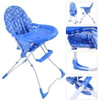 Baby High Chair Infant Toddler Feeding Booster Seat Folding Safety Portable - Blue